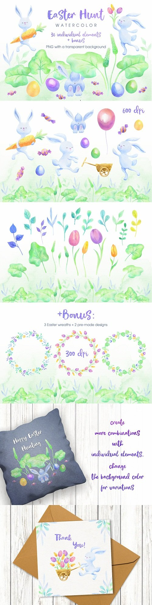 Easter hunt. Watercolor bunnies, flowers and eggs - 216815