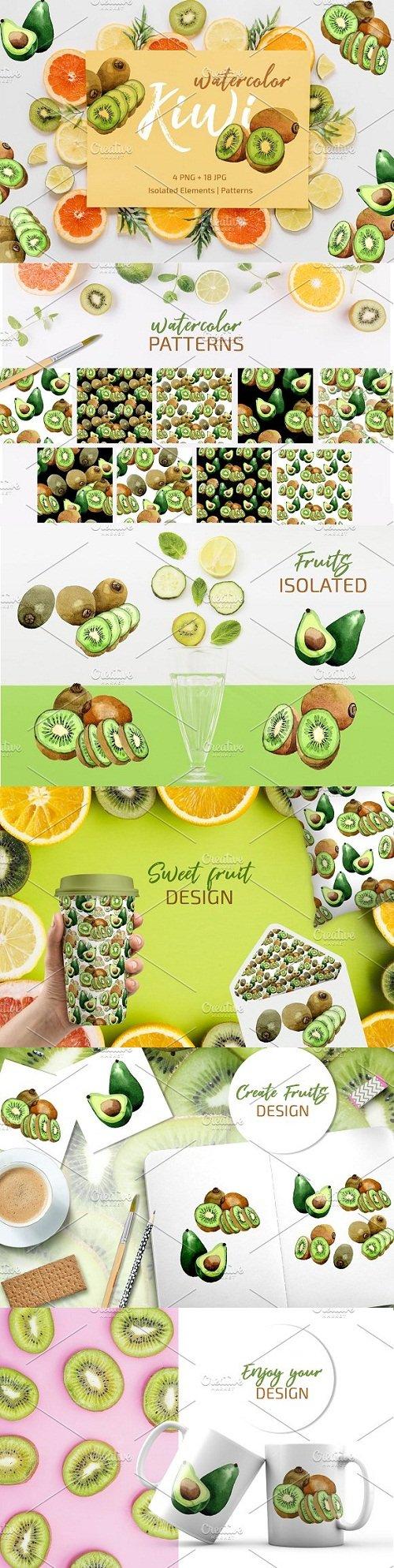 Kiwi Green fresh watercolor png - 3498668