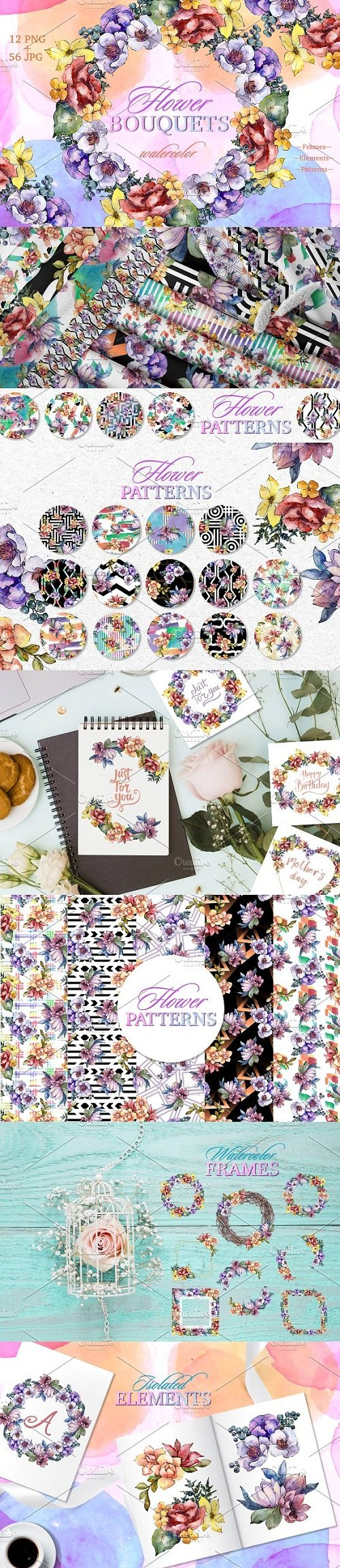 Bouquets Surprise Watercolor png - 3498509