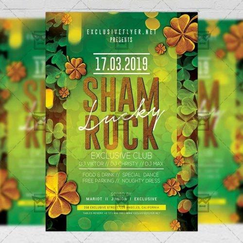 Seasonal A5 Template - Lucky Shamrock Night Flyer