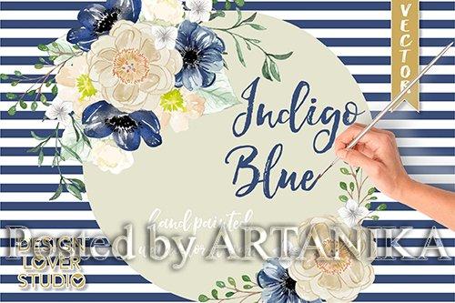 Watercolor Indigo Blue floral clip arts