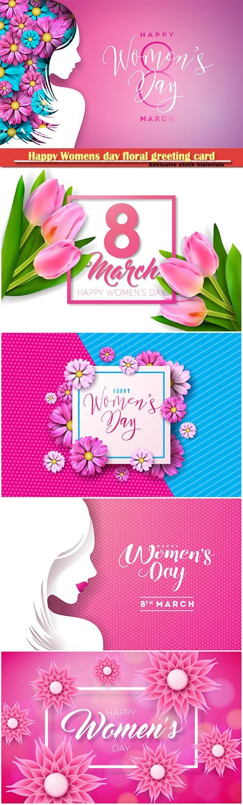 Happy Womens day floral greeting card, international female holiday Illustration, 8 March