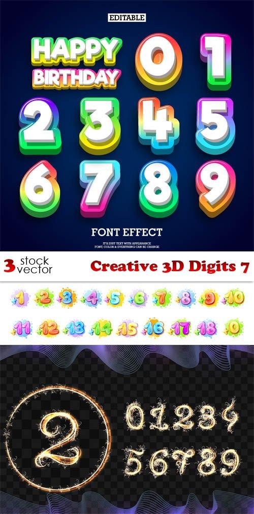 Vectors - Creative 3D Digits 7