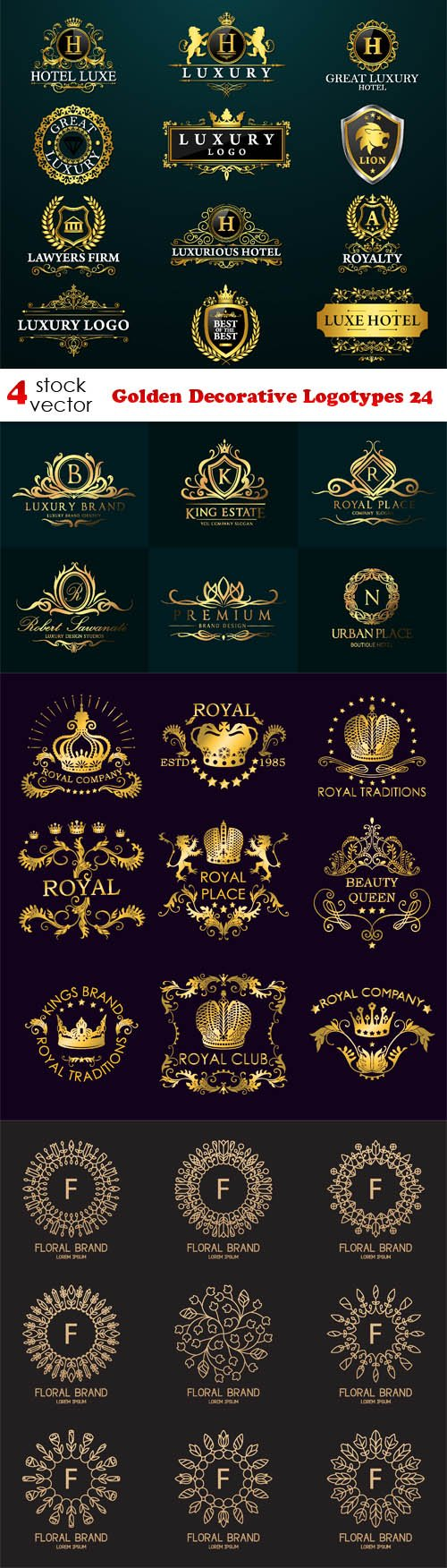 Vectors - Golden Decorative Logotypes 24