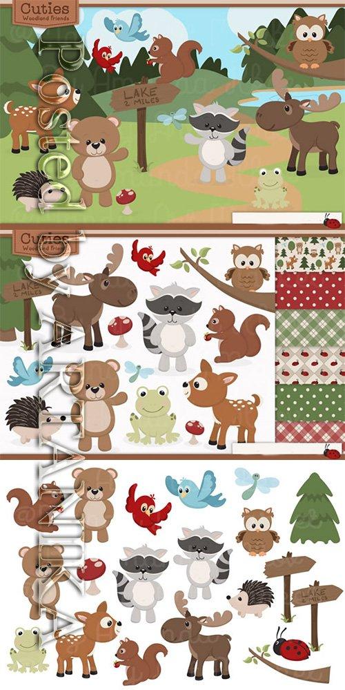 Set of Cute Woodland Animals