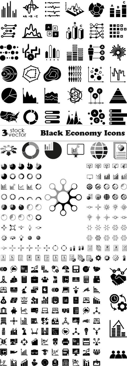 Vectors - Black Economy Icons