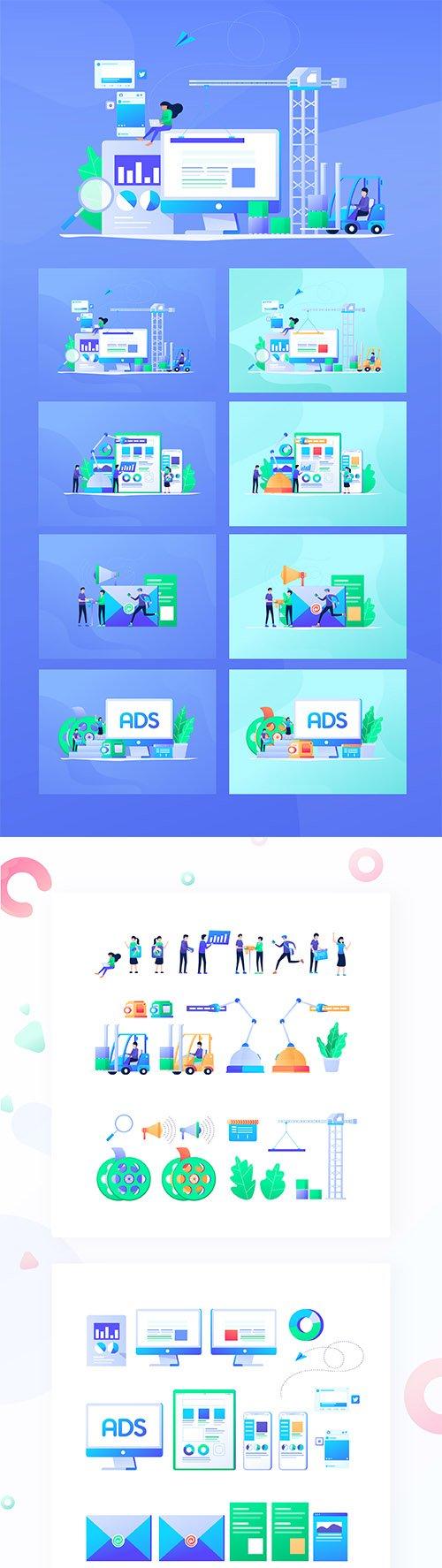 Digital Marketing Flat Design Vol. 01