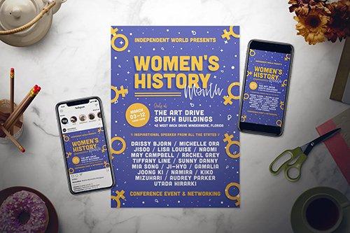 Women's History Month Flyer Set