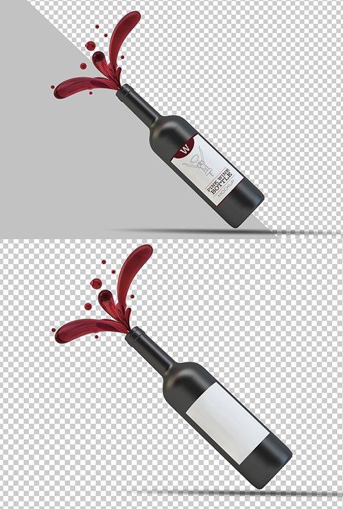 PSDT Wine Bottle Label Mockup 250706789