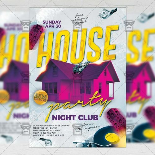 Club A5 Template - House Party Night Flyer