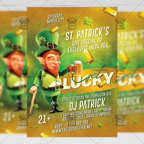 Seasonal A5 Template - Get Lucky Night Flyer