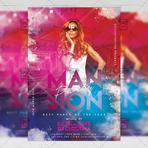 Club A5 Template - Mansion Party Flyer