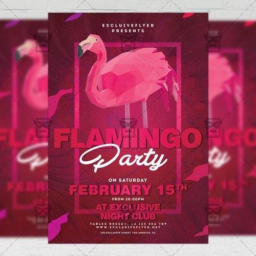 Club A5 Template - Flamingo Night Flyer