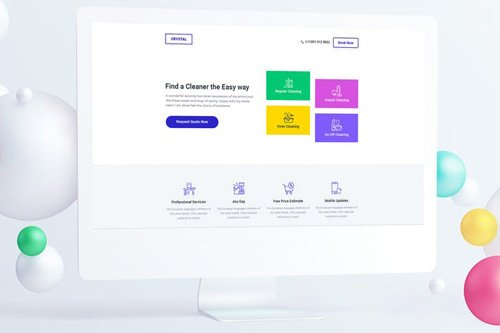 Cleaning Service Landing Page PSD Template