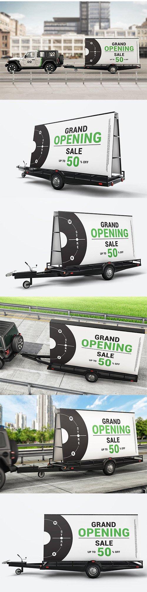 Mobile Billboard Trailer Advertising Sign Mockup PSD