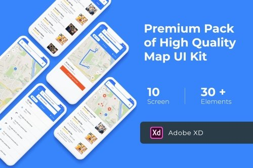Map & Navigation UI KIT for XD