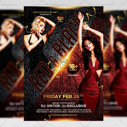 Club A5 Template - Red and Black Party Flyer