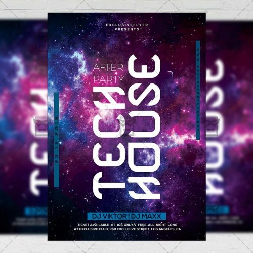 Club A5 Template - Tech House After Party Flyer