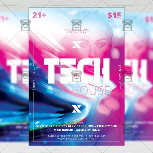 Club A5 Template - Tech House Party Flyer