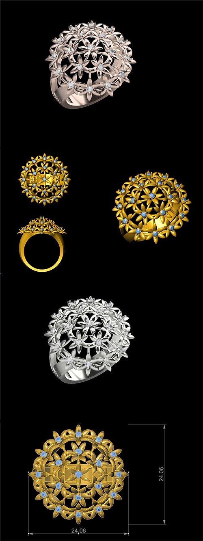 STUNNING FLOWER RING FOR LADIES SBR 1 3D print model