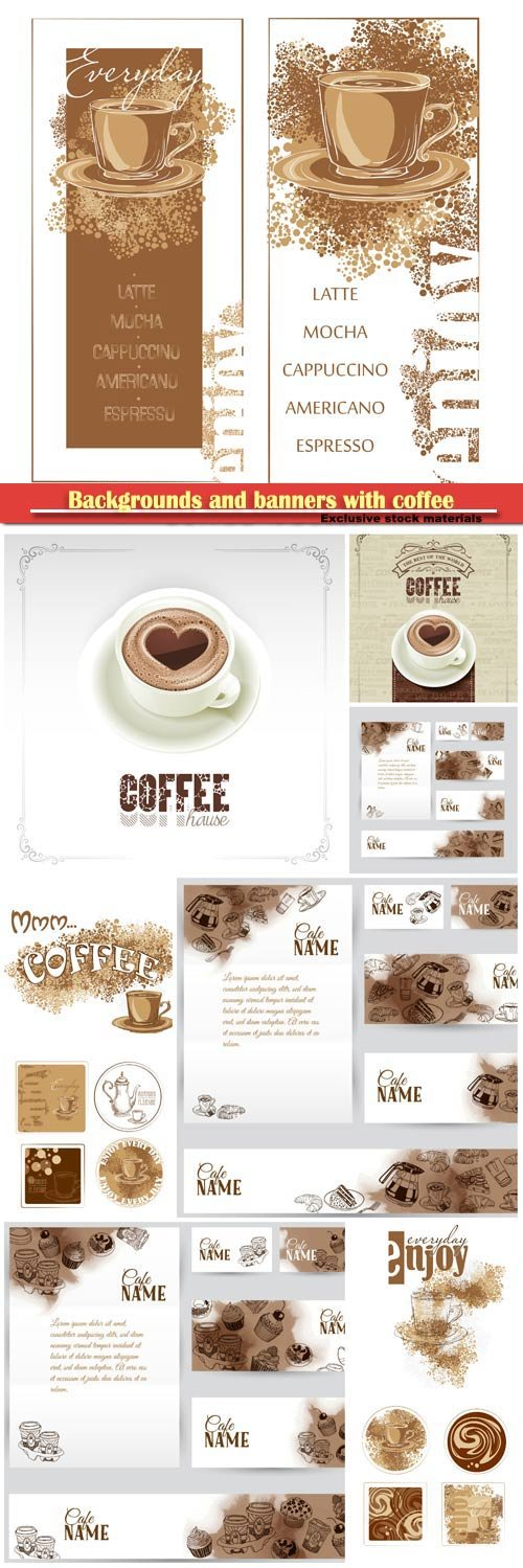 Backgrounds and banners with coffee in vector