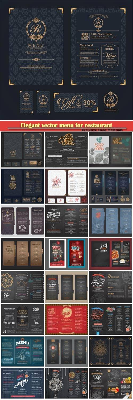 Elegant vector menu for restaurant and cafe