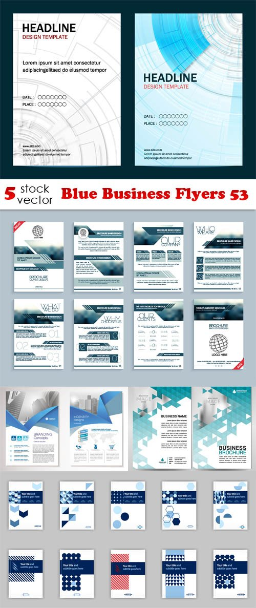Vectors - Blue Business Flyers 53