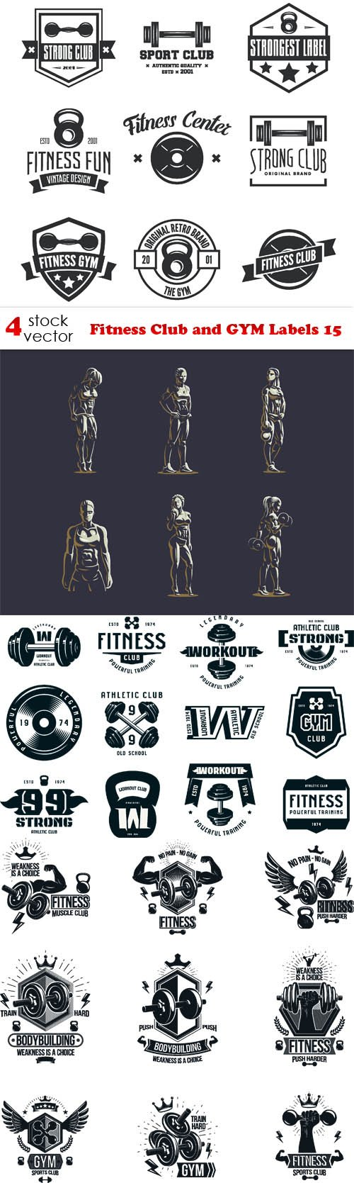 Vectors - Fitness Club and GYM Labels 15