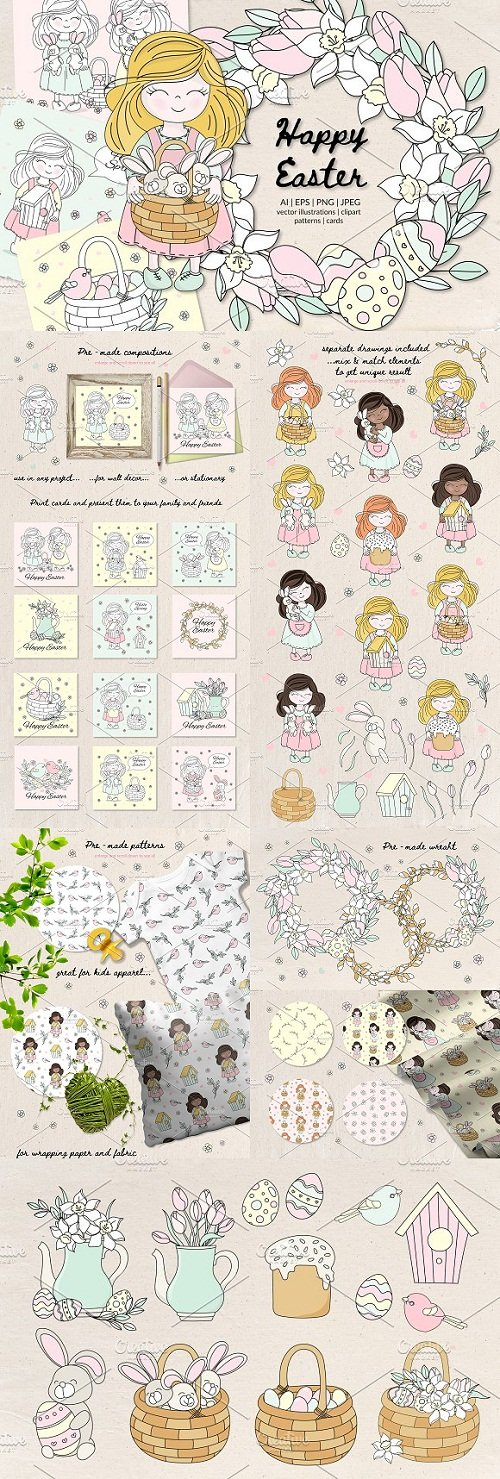 HAPPY EASTER Holiday Vector Set - 3491812
