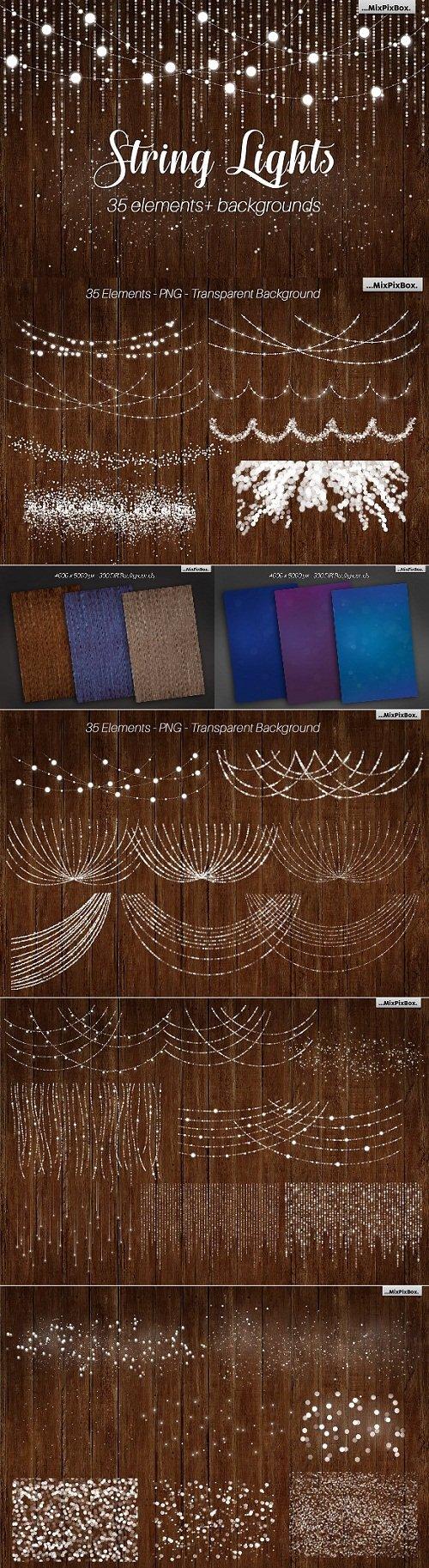 String Lights v3 clipart+backgrounds - 1820258