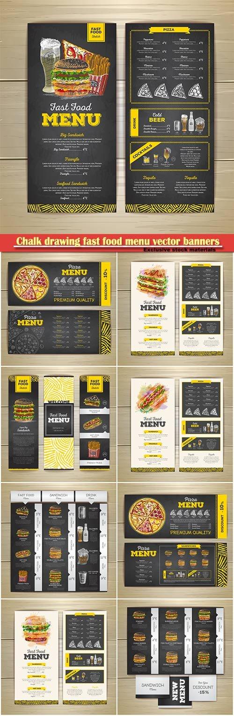 Chalk drawing fast food menu vector banners