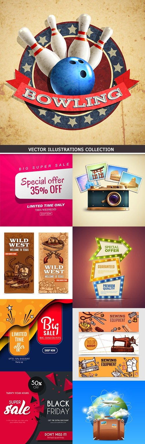 Modern vector illustrations collection different subjects 28