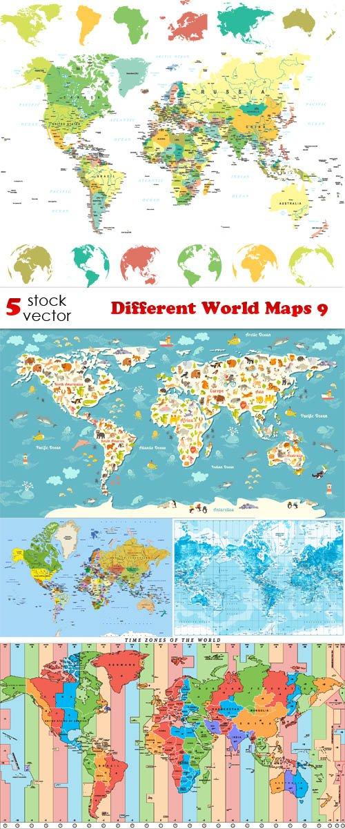 Vectors - Different World Maps 9