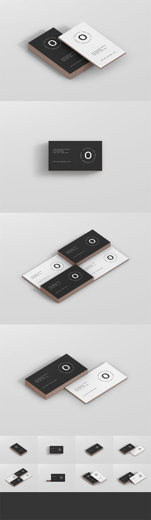 Business Card Stack Mockup 90x50 Format