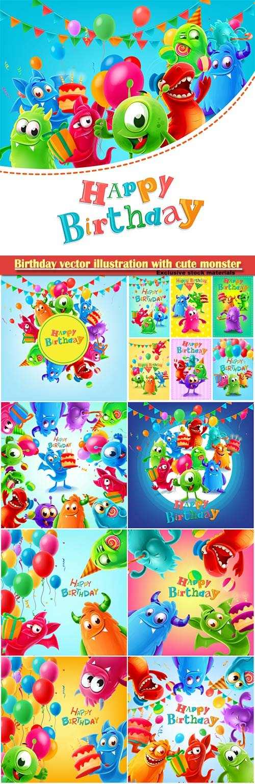 Happy birthday vector illustration with cute monster