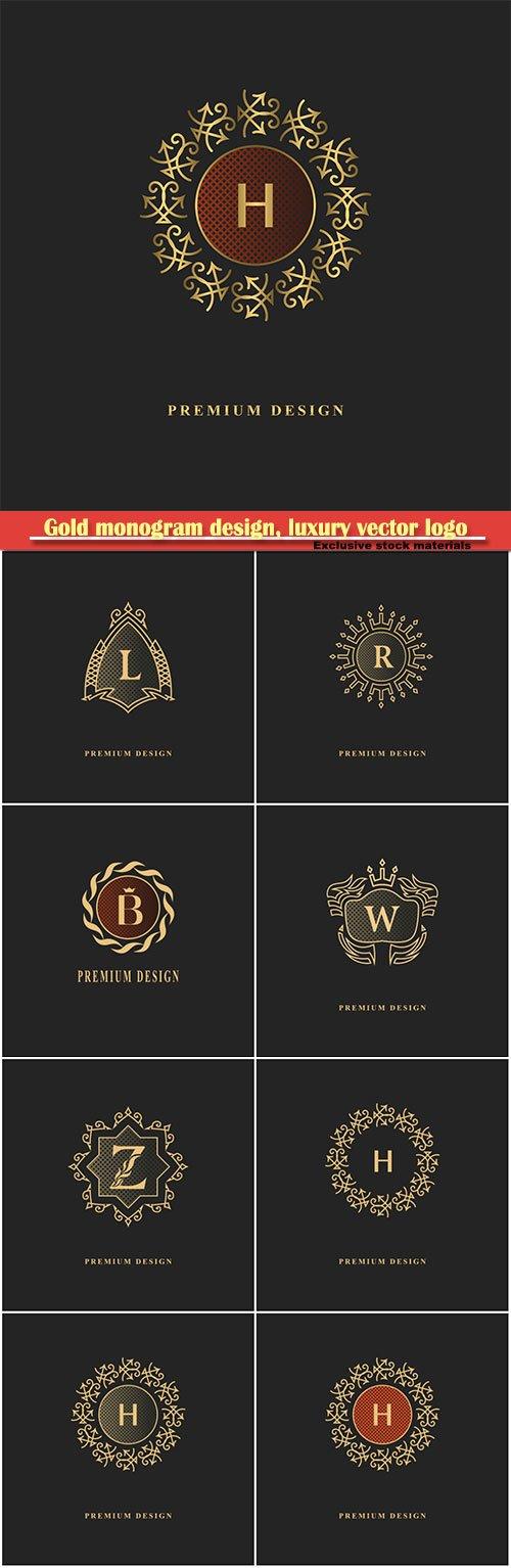 Gold monogram design, luxury vector logo template