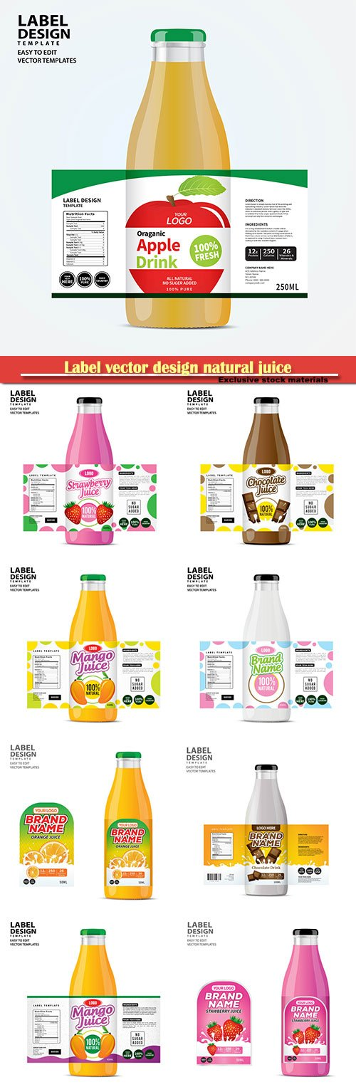 Label vector design natural juice
