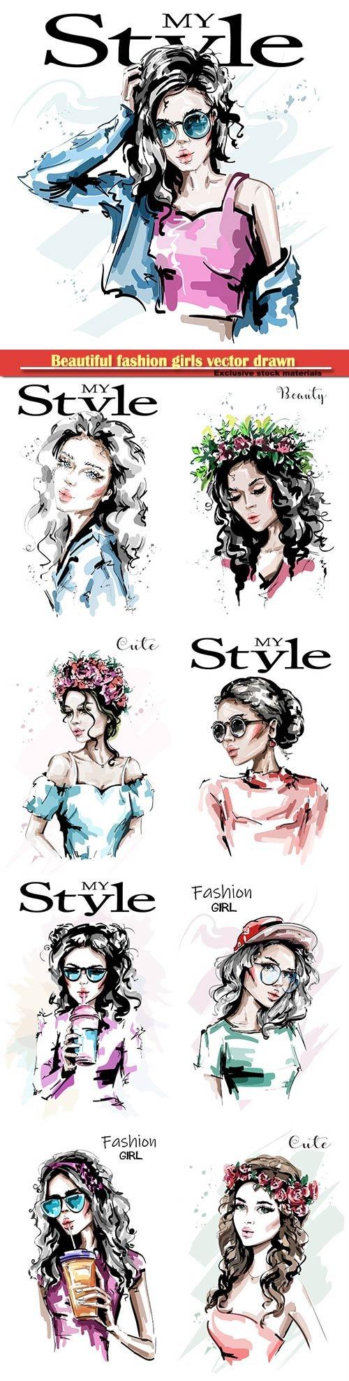 Beautiful fashion girls vector drawn illustrations