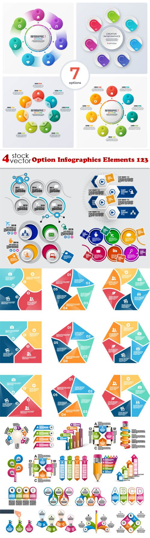 Vectors - Option Infographics Elements 123