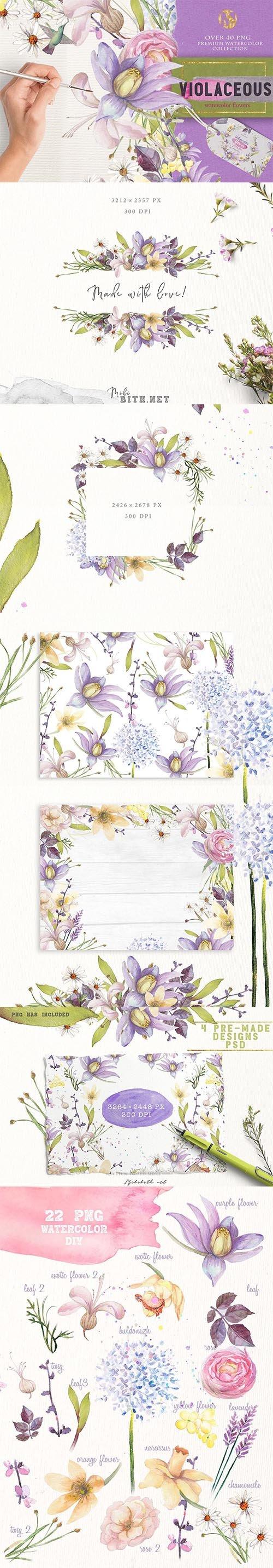 """a Fresh spring florals """"Violaceous"""" PNG"""