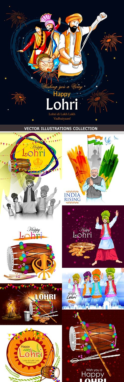 India lohri traitsionny cultural holiday traditional collection