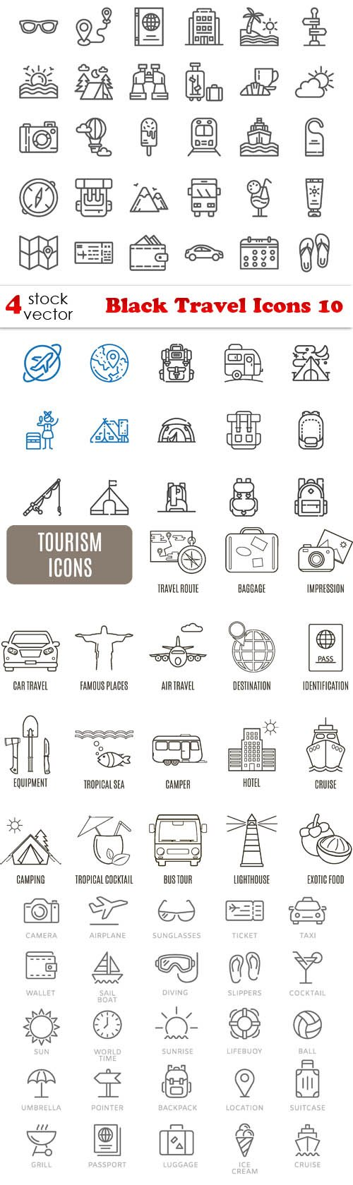 Vectors - Black Travel Icons 10