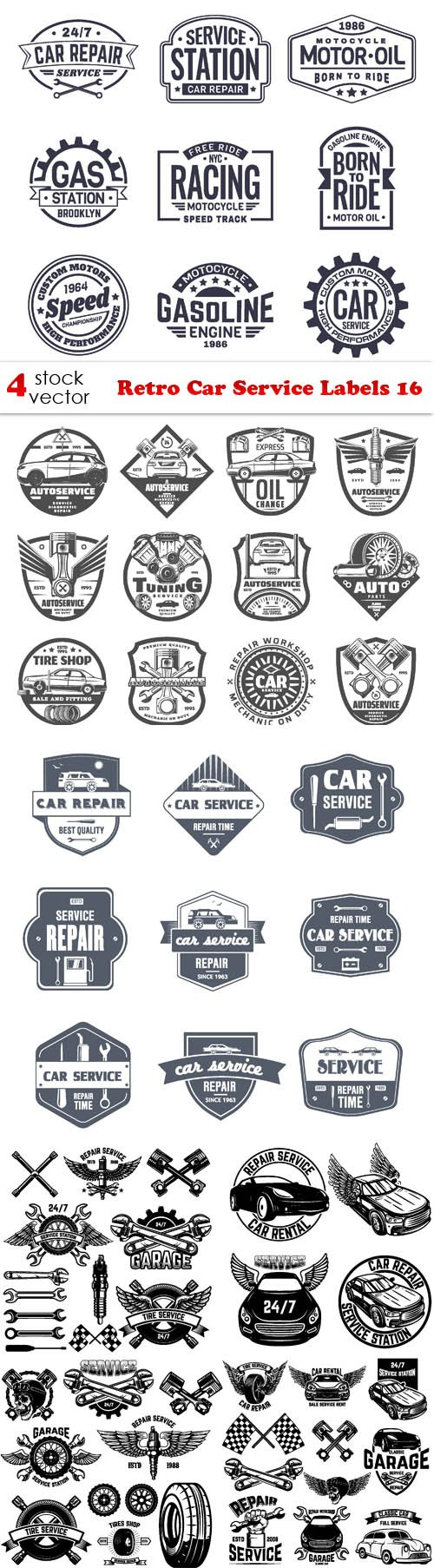 Vectors - Retro Car Service Labels 16