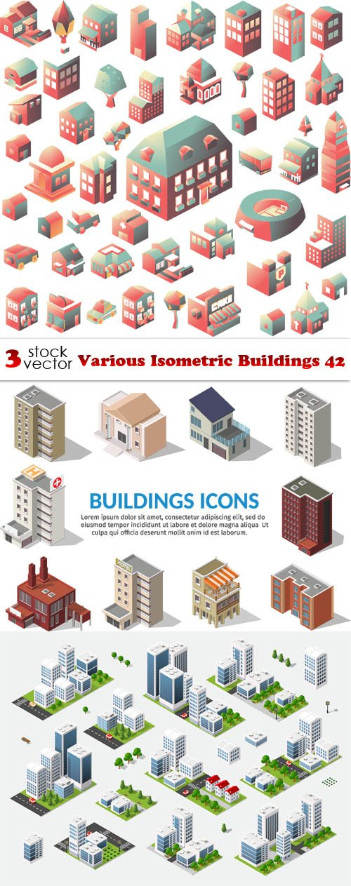 Vectors - Various Isometric Buildings 42