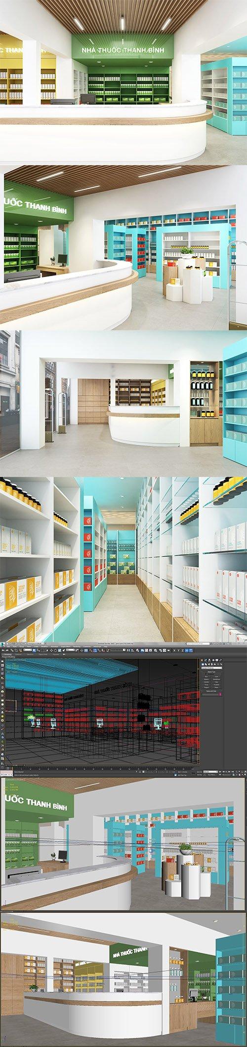 Pharmacy interior modern 3D model