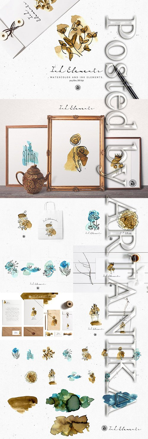 Ink Elements with Watercolor