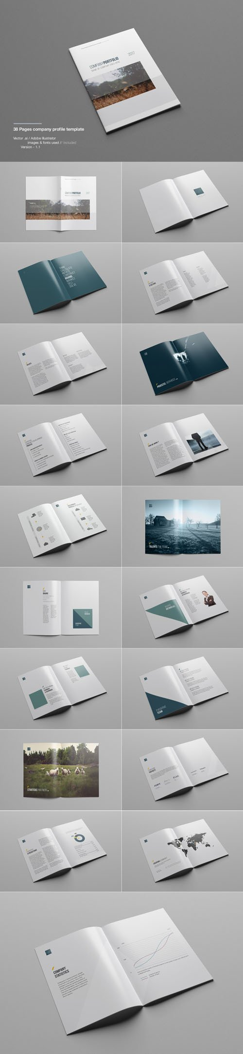 38 Pages Company Profile Print Vector Template
