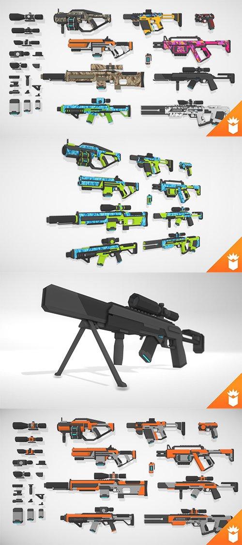 SciFi Gun Pack Low-poly 3D model