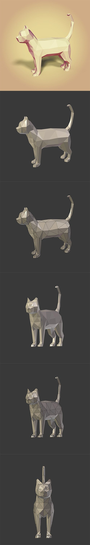 Low Poly Cartoon Cat Low-poly 3D model