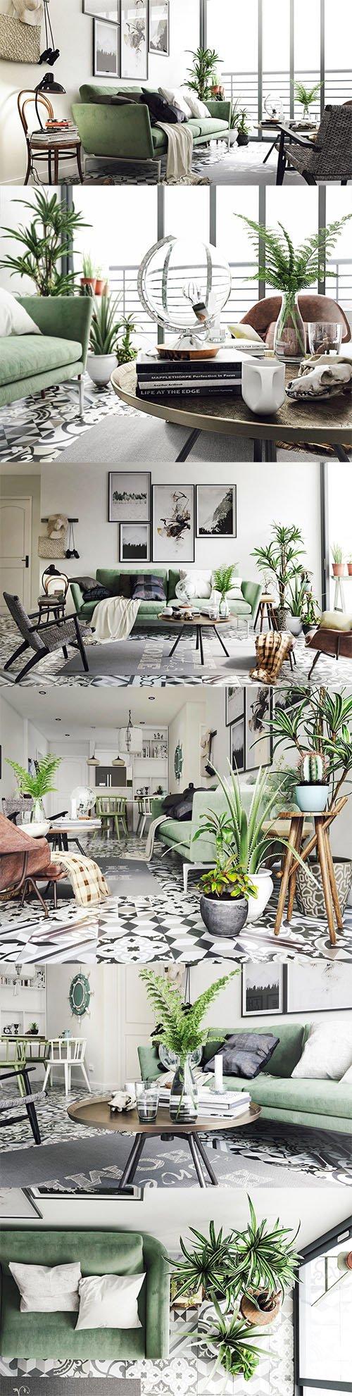 Vintage Living Room Interior Scene for Render Low-poly 3D model